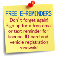 License ID card and vehicle registration e-Reminders